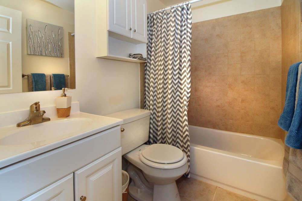 Model bathroom with vanity mirror and oval tub at Middlesex Crossing in Billerica, Massachusetts