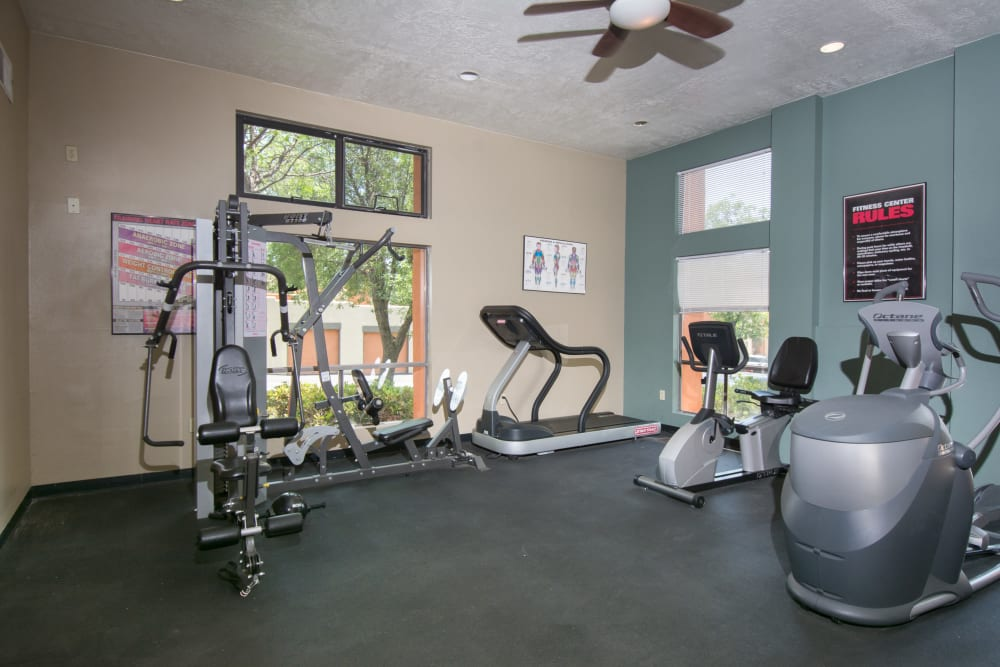 Well equipped fitness center at Mesa Del Oso in Albuquerque, New Mexico