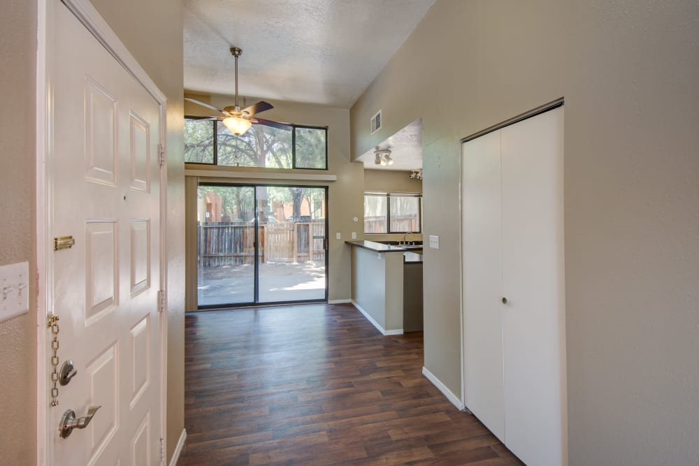 Main entryway with hardwood floors at Mesa Del Oso in Albuquerque, New Mexico