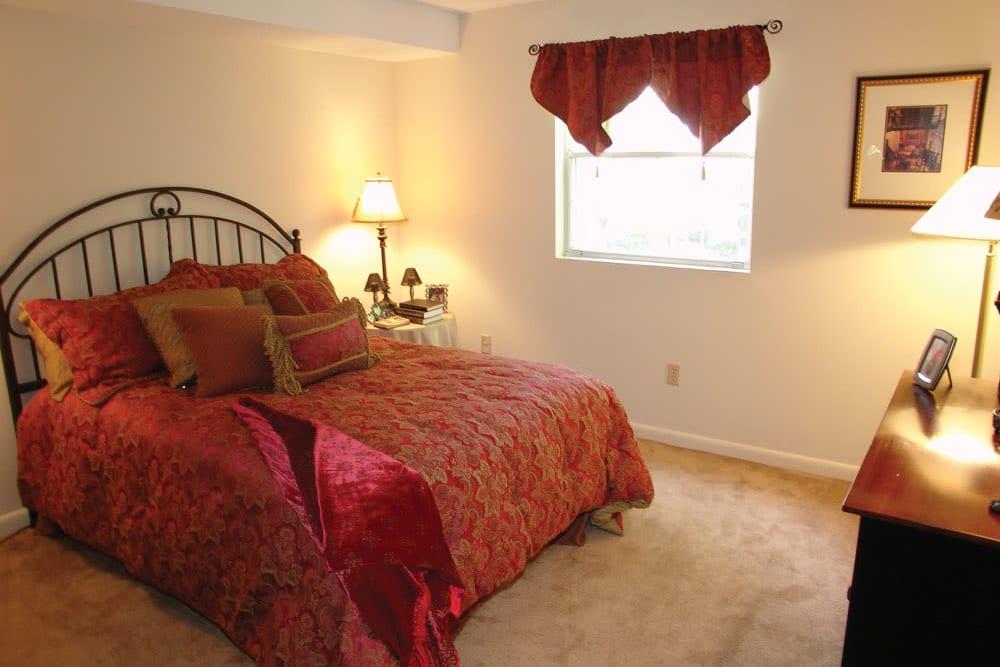 Model bedroom at Meadows at Marlborough in Marlborough, Massachusetts