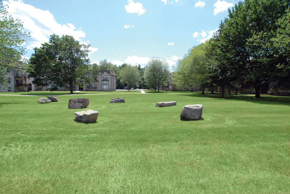 Decorative boulders outside at Meadows at Marlborough in Marlborough, Massachusetts