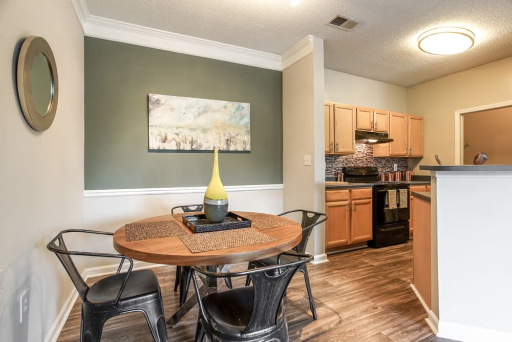 Dining nook with kitchen view at Meadow View in College Park, Georgia