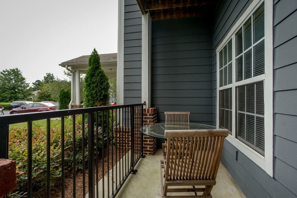 Back patio view from resident unit at Meadow View in College Park, Georgia