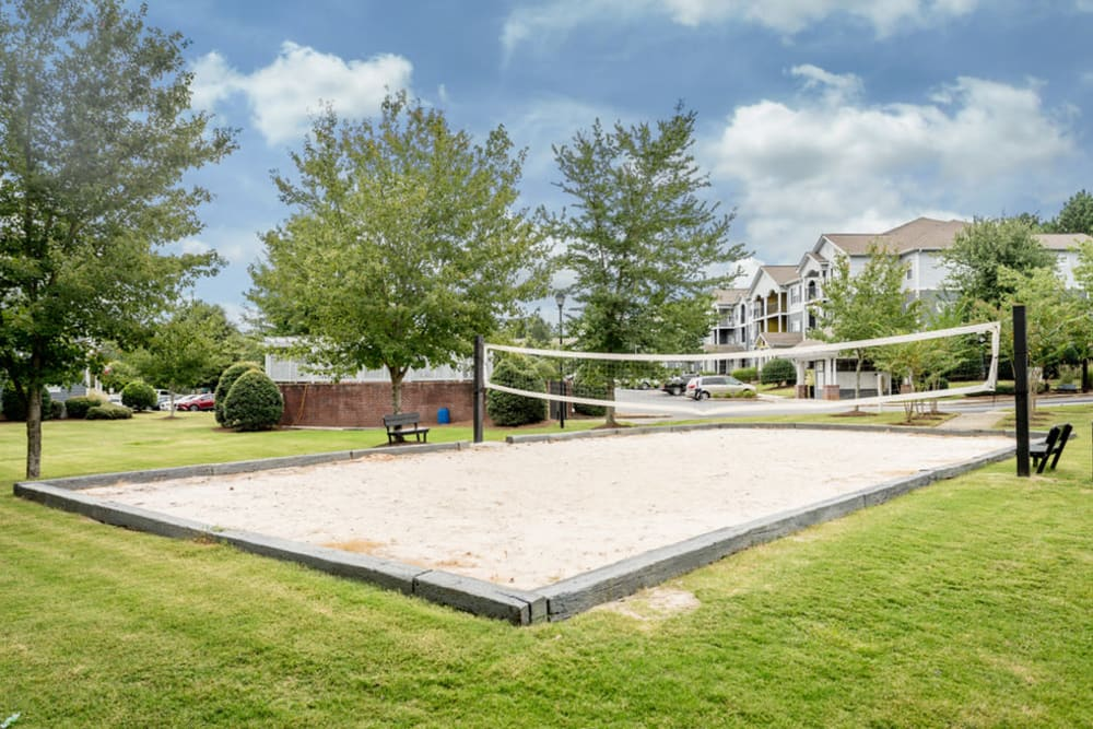 Volleyball courts on site at Meadow View in College Park, Georgia