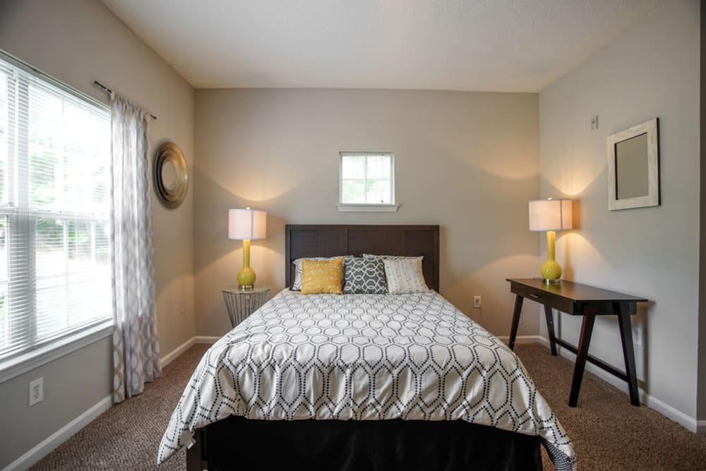 Model bedroom at Meadow Springs in College Park, Georgia