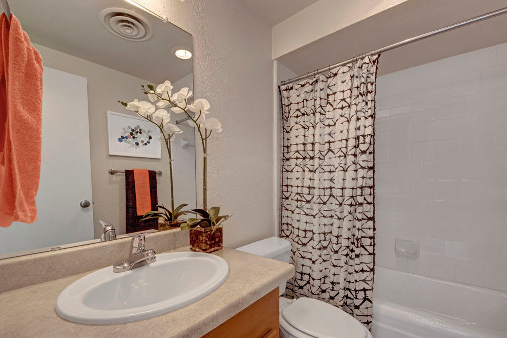 Model bathroom with large vanity mirror and oval tub at Manor House in Dallas, Texas