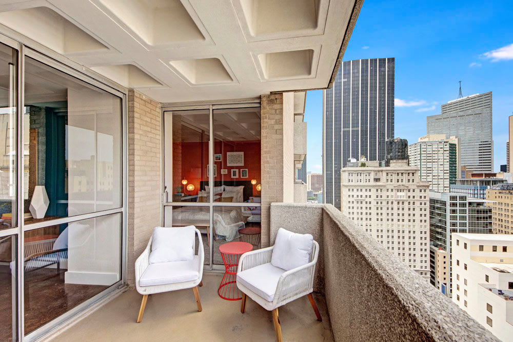 View of the city from unit patio at Manor House in Dallas, Texas