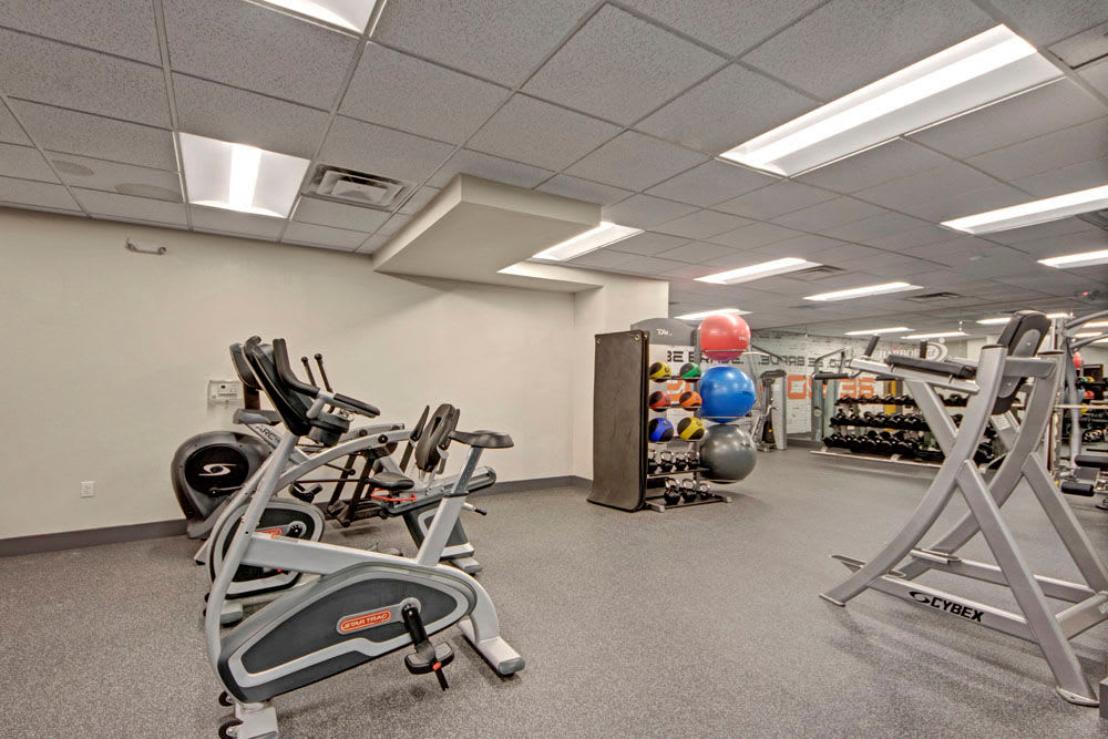 Free weights and exercise balls in the fitness center at Manor House in Dallas, Texas