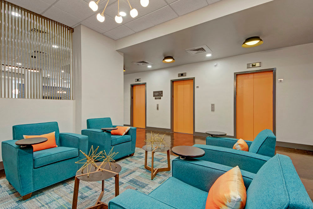 Plenty of seating in the common area for residents at Manor House in Dallas, Texas