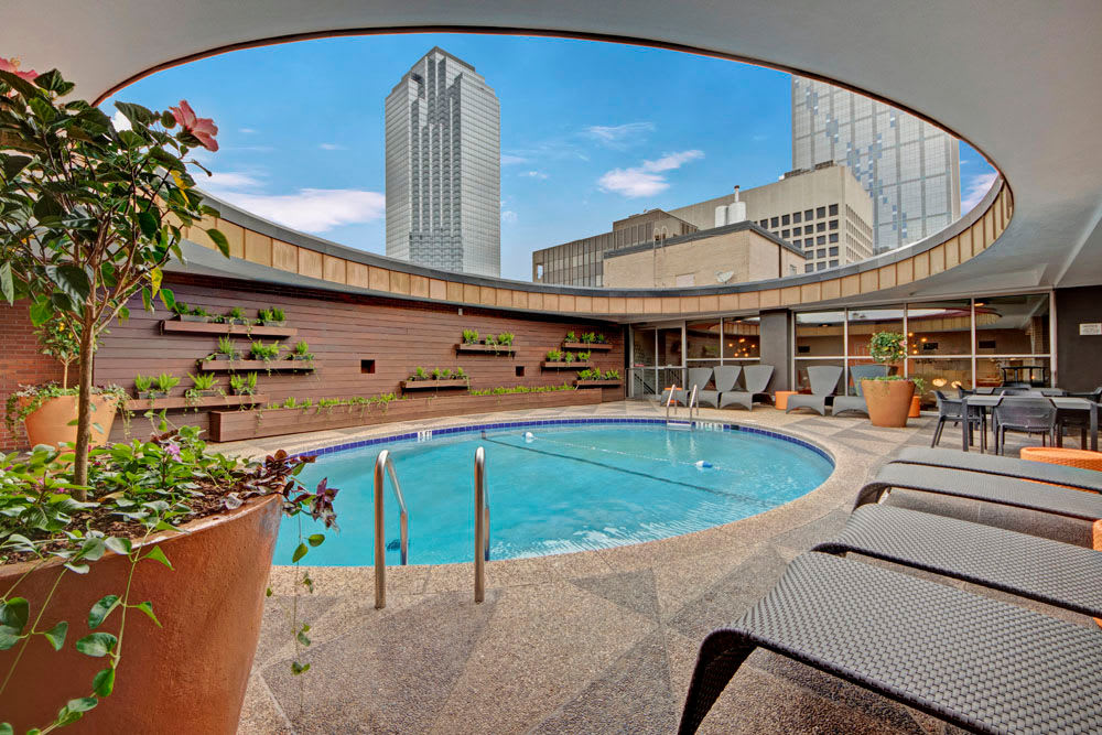 Rooftop pool with skyline view at Manor House in Dallas, Texas