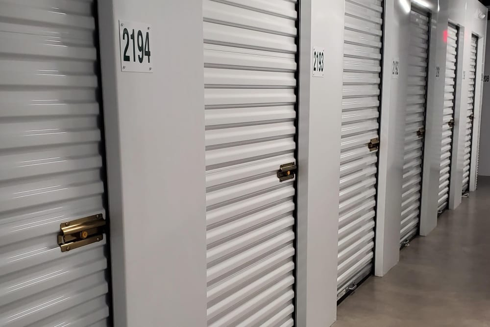 An indoor storage unit at Monster Self Storage