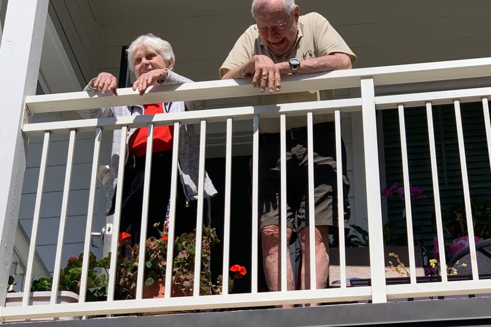 Residents at Clearwater at Sonoma Hills socializing at a safe distance
