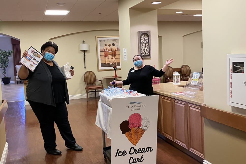 Ice cream stand for residents at Clearwater at South Bay