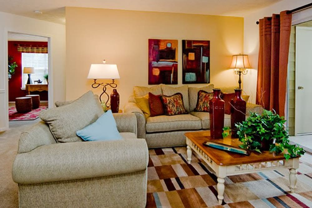 Model living room at Holland Park in Lawrenceville, Georgia