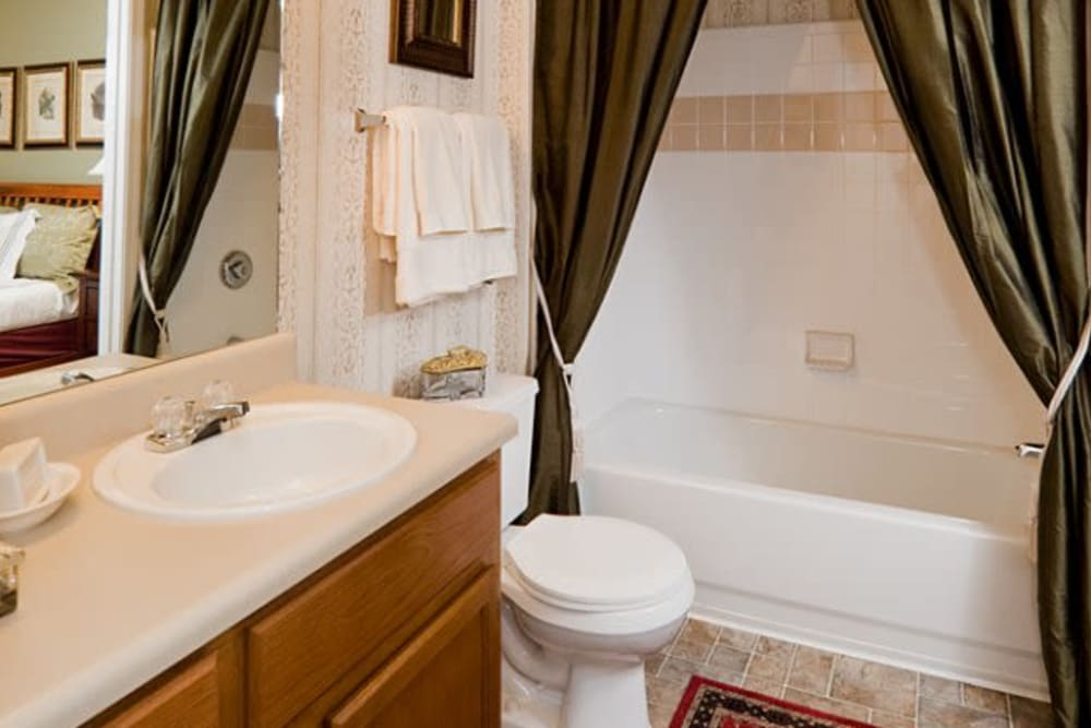 Bathroom at Holland Park in Lawrenceville, Georgia features shower bathtub and large vanity mirror