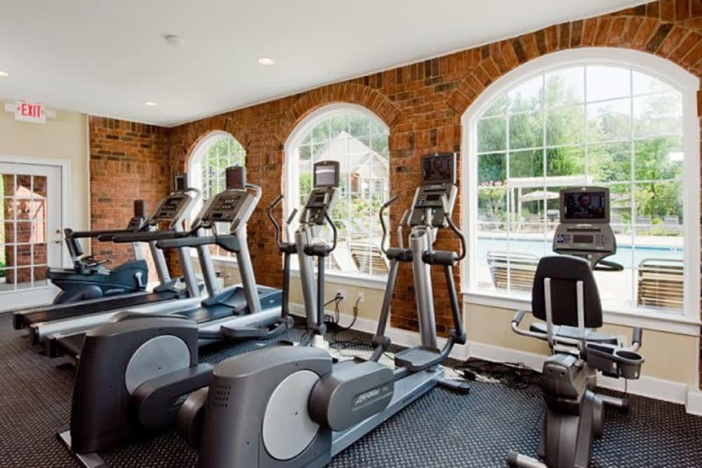 Modern workout equipment in fitness center at Holland Park in Lawrenceville, Georgia