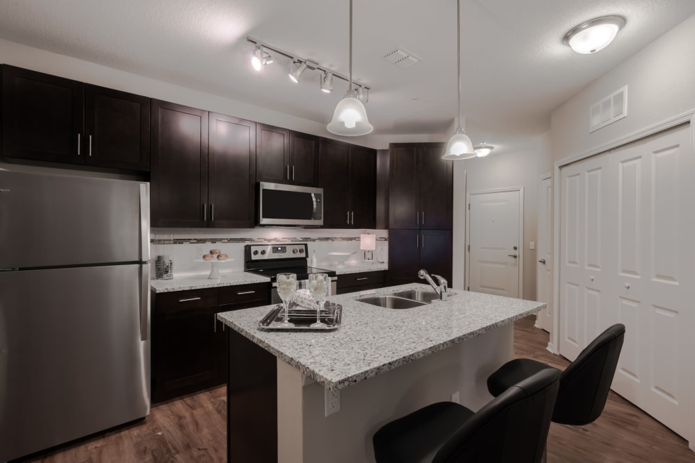 Kitchen featuring dark wood cabinets and stainless steel appliances in an apartment at Integra Lakes in Casselberry, Florida