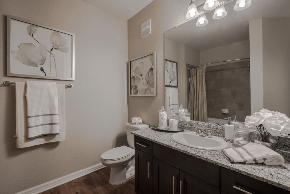 Bathroom featuring large vanity mirror at Integra Lakes in Casselberry, Florida