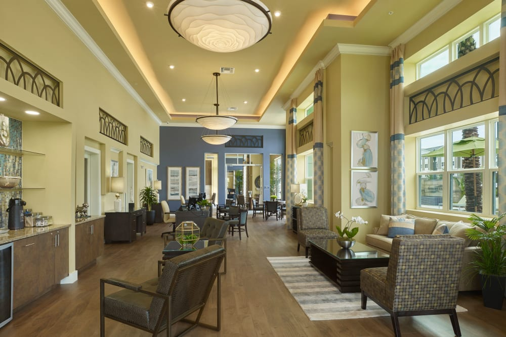 Clubhouse interior at Integra Lakes in Casselberry, Florida Features tall ceilings