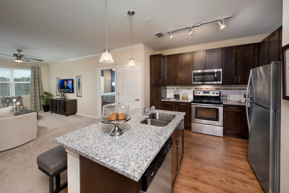 Kitchen with island at Apartments in Casselberry, Florida