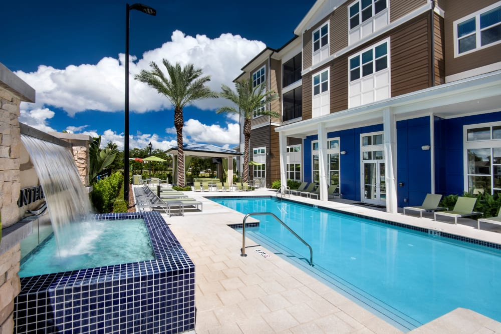 Spa tub next to community Pool at Apartments in Casselberry, Florida
