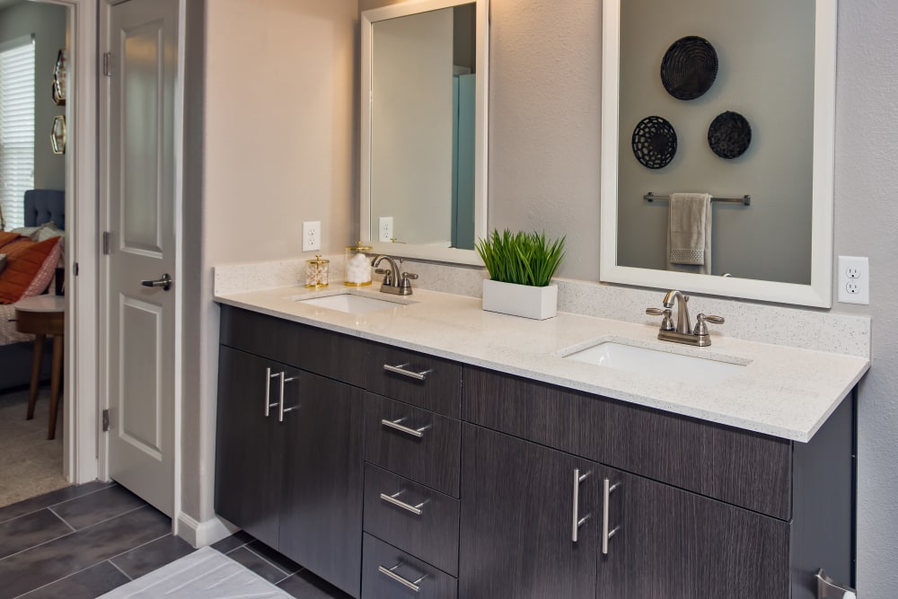 Bathroom vanity in an apartment at Linden Audubon Park in Orlando, Florida