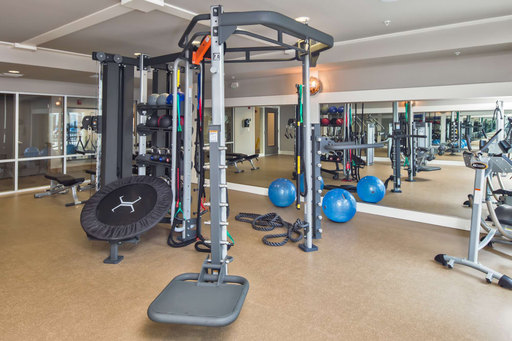 Modern exercise equipment in fitness center at Linden Audubon Park in Orlando, Florida