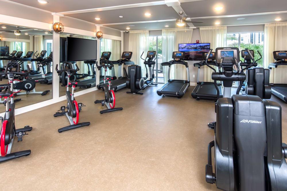 Modern exercise equipment at Linden Audubon Park in Orlando, Florida