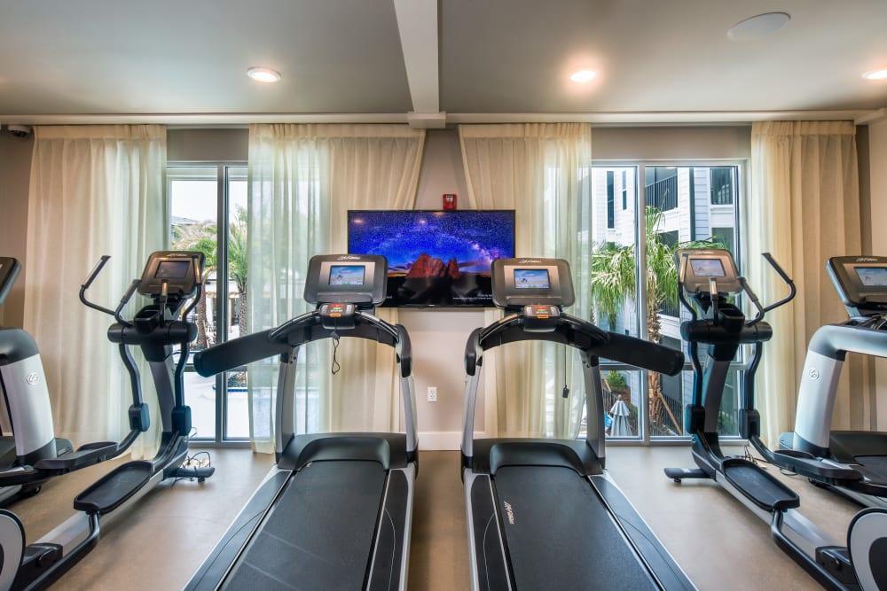 Treadmills in fitness center at Linden Audubon Park in Orlando, Florida