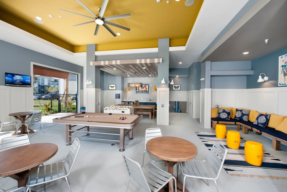 Spacious community clubhouse at Linden Crossroads in Orlando, Florida
