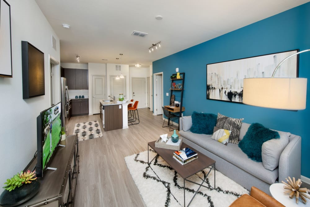 Stylish living room interior at Linden Crossroads in Orlando, Florida