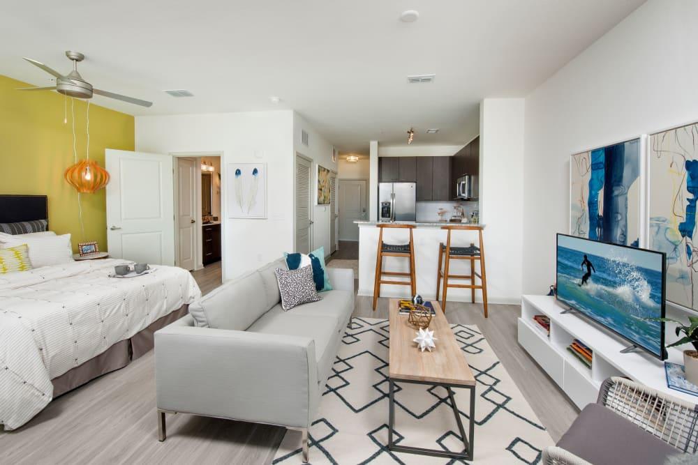 Modern furnishings in living room at Linden Crossroads in Orlando, Florida