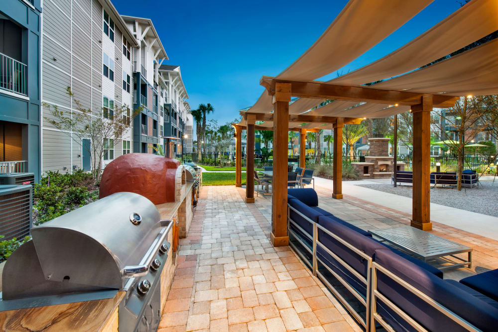 Outdoor grilling station at Linden Crossroads in Orlando, Florida