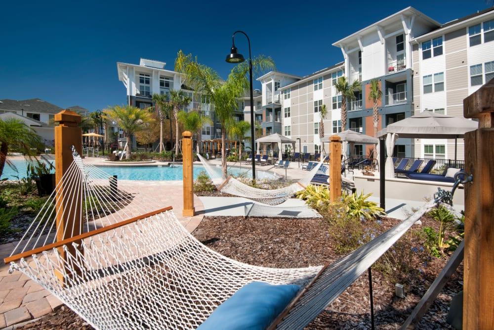 Hammock by community pool at Linden Crossroads in Orlando, Florida