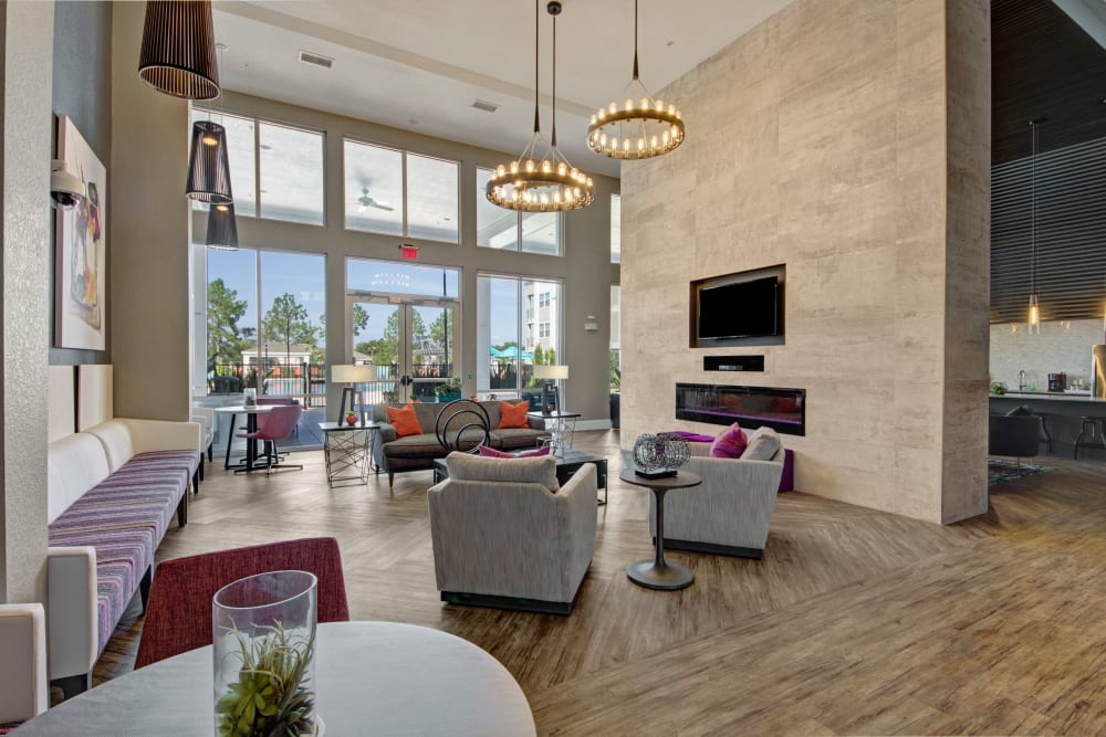 Sitting area by fire place in Clubhouse at Linden on the GreeneWay in Orlando, Florida