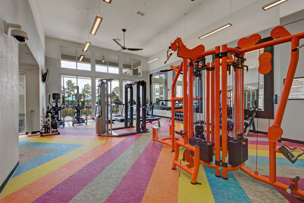 Colorful carpet in fitness center at Linden on the GreeneWay in Orlando, Florida