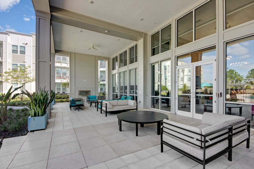 Patio seating at Linden on the GreeneWay in Orlando, Florida