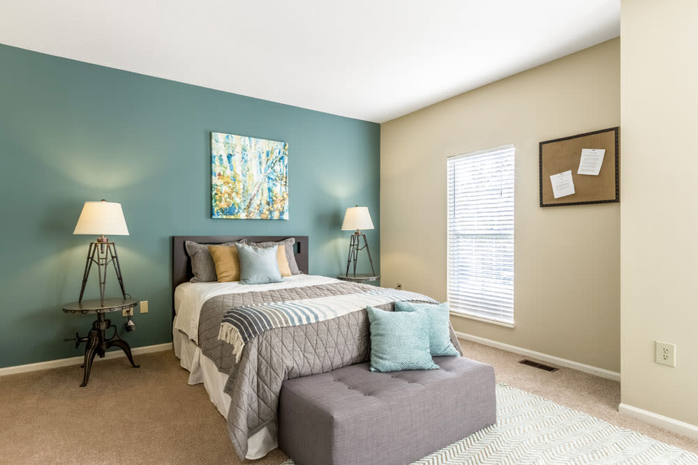 Well decorated model bedroom with plenty of natural light at Sycamore Ridge in Dublin, Ohio