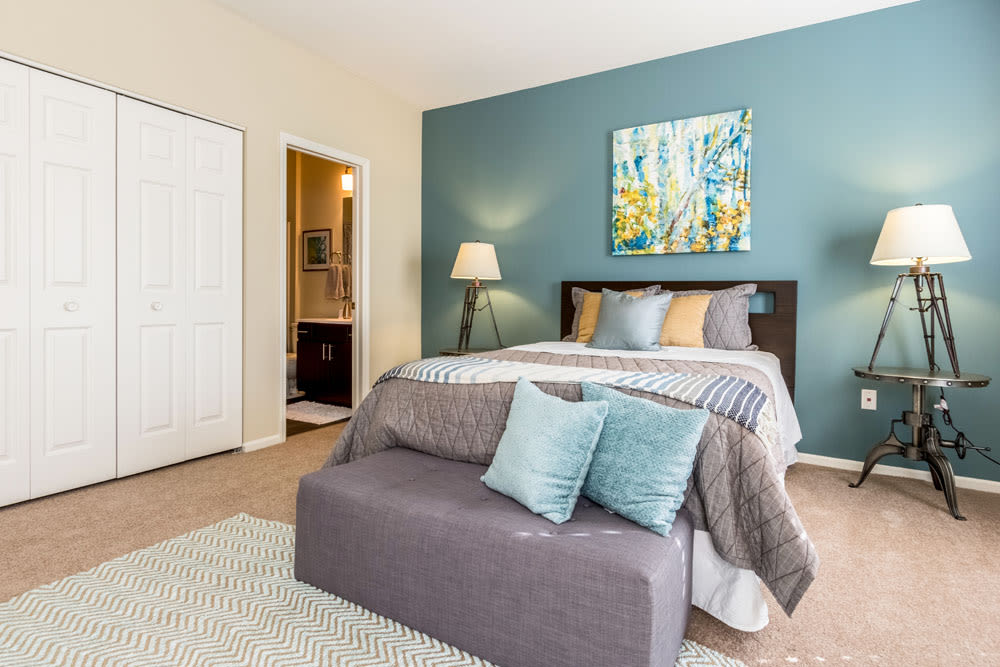 Decorated model bedroom with attached bathroom at Sycamore Ridge in Dublin, Ohio
