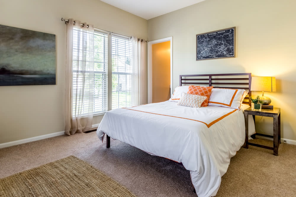 Model bedroom with large windows and carpeted floors at Sycamore Ridge in Dublin, Ohio