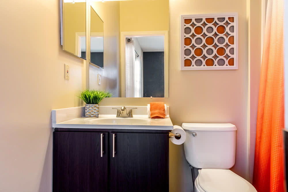 Model bathroom with vanity mirror and oval tub at Sycamore Ridge in Dublin, Ohio