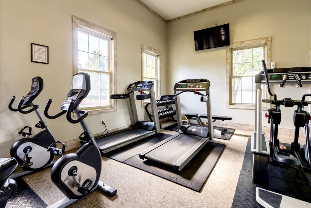Resident fitness center with plenty of aerobic machines at Sycamore Ridge in Dublin, Ohio