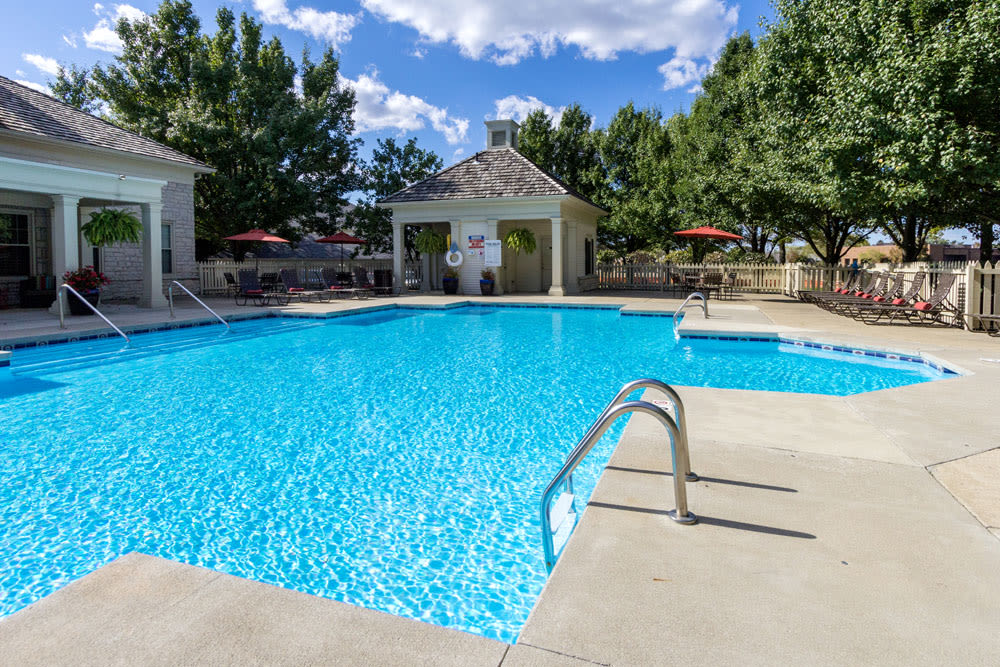 Sparkling swimming pool on a sunny day at Sycamore Ridge in Dublin, Ohio