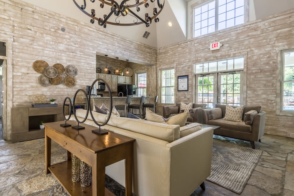 Fireplace and couches included at the clubhouse lounge at Sycamore Ridge in Dublin, Ohio