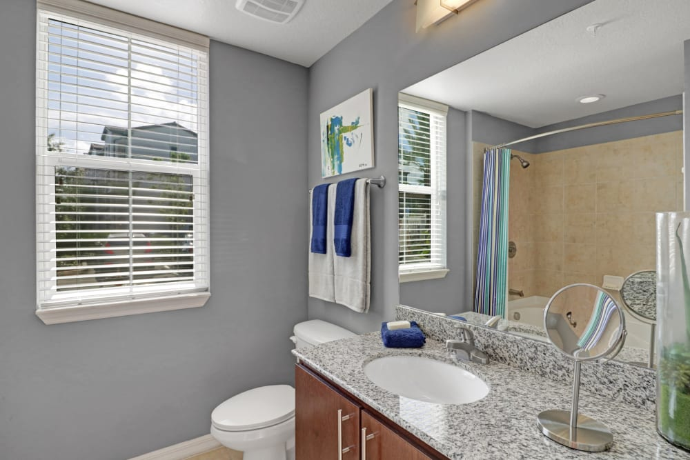 Bathroom with a view at Linden Pointe in Pompano Beach, Florida