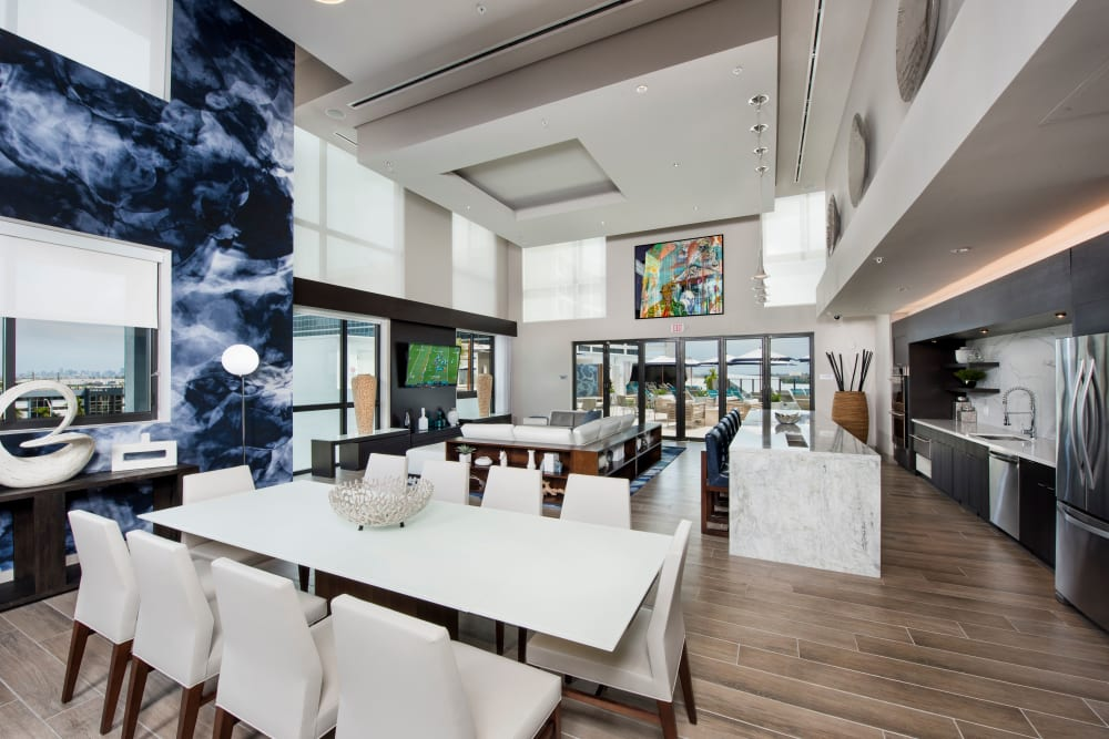 Dining and bar seating in the clubhouse at The Flats in Doral, Florida