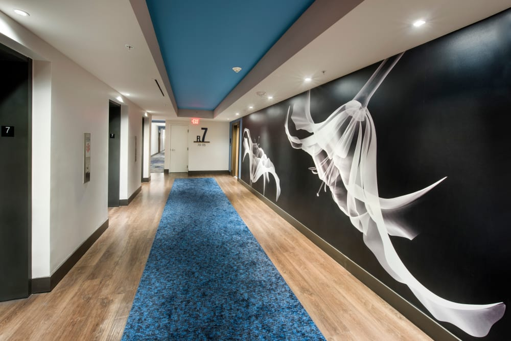 Resident hallways with view of elevators and artwork at The Flats in Doral, Florida