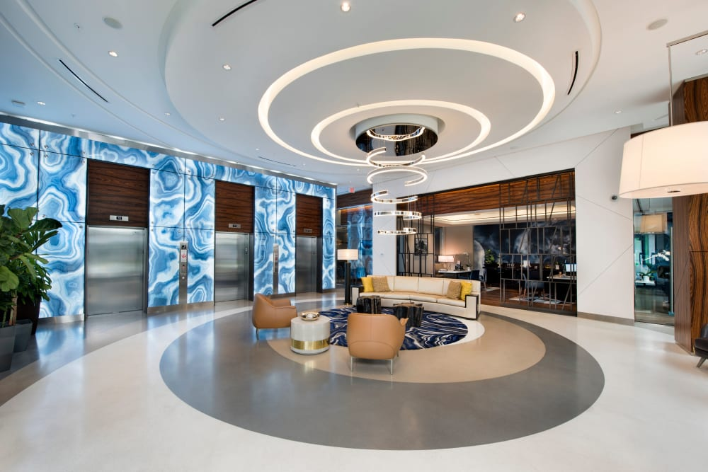 Modern and well decorated lobby at The Flats in Doral, Florida