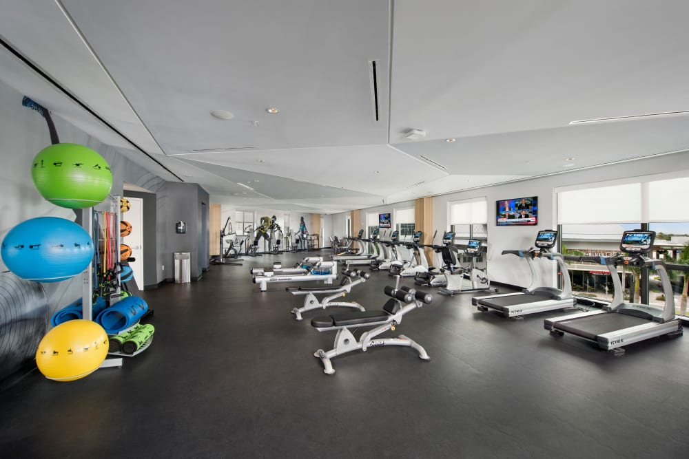 Well equipped fitness center at The Flats in Doral, Florida