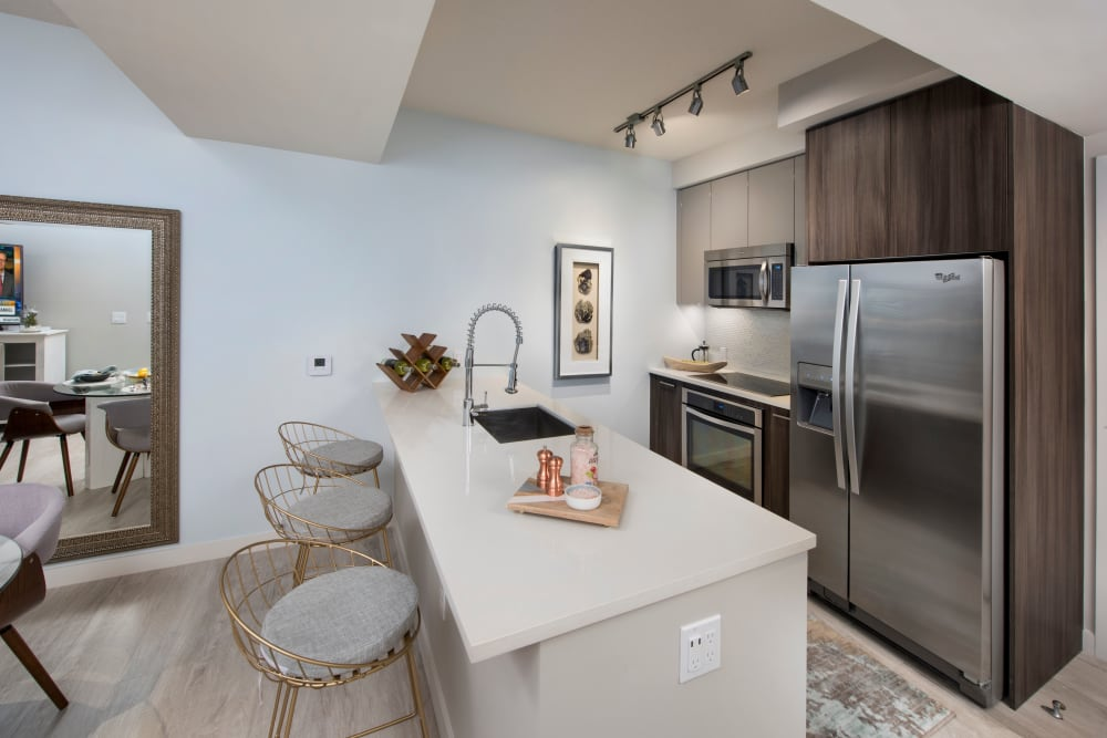 Stainless steel appliances and granite countertops in model kitchen at The Flats in Doral, Florida